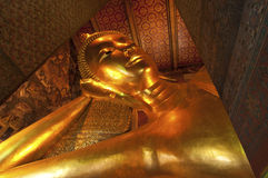 Big Golden Reclining Buddha Image at Wat Pho Royalty Free Stock Image