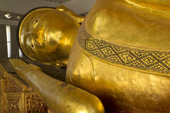 The Big golden Reclining Buddha in the important temple Royalty Free Stock Images