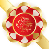 Big golden and red bow with lettering text. Merry Christmas and Happy New Year. Stock Photography
