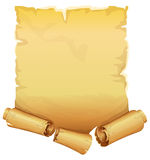 Big golden ribbon scroll of parchment Royalty Free Stock Images