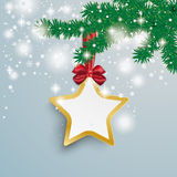 Big Golden Star Snow Lights Red Ribbon Fir Branch Stock Photography