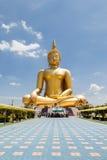 Big golden statue image of buddha Thailand. Big golden statue image of buddha at Wat muang, Angthong province, Thailand Royalty Free Stock Image