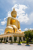 Big golden statue image of buddha Thailand. Big golden statue image of buddha at Wat muang, Angthong province, Thailand Stock Image
