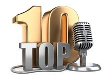 Big golden top 10, ten award symbol with wire microphone. Royalty Free Stock Images