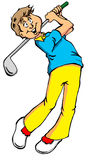 Big Golf Swing. Vector cartoon of a golfer taking a big swing Royalty Free Stock Photography