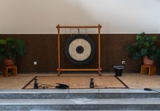 Big gong in meditation room. Hall royalty free stock photography