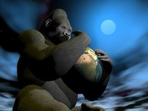 Gorilla protecting earth - 3D render Royalty Free Stock Photos