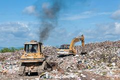 Big grabage heap. Problem of pollution Stock Photos