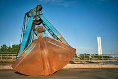 Big grabber for bulk cargo on a pier on bulk terminal Royalty Free Stock Photo