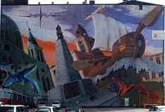 Big graffit of the city Lodz. Icons the city of Lodz graffiti on the wall Stock Image