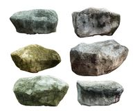 Big granite stones. Boulders of various forms and sizes set. Isolated on white collage from several outdoor For decoration Stock Photography