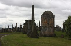 The big graveyard in Glasgow. Monuments and crypts at Glasgow's necropolis Stock Photos