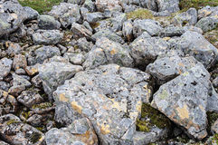 Big gray stones in tundra. Texture of large rough gray stones with lichen in tundra Royalty Free Stock Image