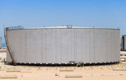 Big gray tank with diesel in Saudi Arabia Royalty Free Stock Photo