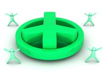 Big green 3D peace sign Royalty Free Stock Image