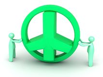 Big green 3D peace sign Royalty Free Stock Photos