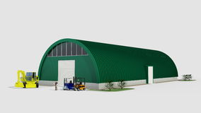 Big green hangar Royalty Free Stock Image