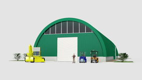 Big green hangar Stock Photos