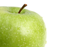 Big green apple close up. Stock Photo