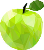 Big green apple. A big green apple in the low poly technique stock illustration