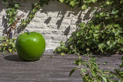 Big green artificial apple on the wooden stand Stock Image