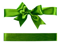Big green bow made from silk Stock Photo