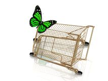 Big green butterfly flew to the basket Royalty Free Stock Photography