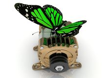 Big green butterfly sits on a pulley gold generator Stock Photography