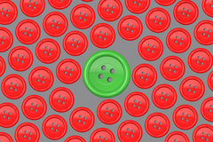Big green button amongst group of red Buttons - Make a difference concept Stock Photos
