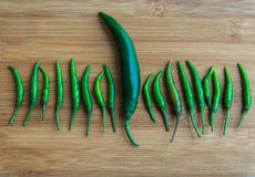 A big green chilli pepper in small Green chilli pepper on chopping block. 1 Stock Image