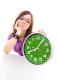 Big green clock Royalty Free Stock Image