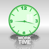 Big green 3d clock with work time text Stock Image