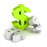 Big green dollar currency symbol on white Stock Photos