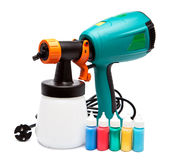 The big green electrical spray gun for coloration Royalty Free Stock Photography