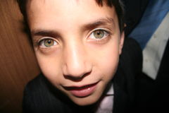 Big green eyes. Closeup of a little boy with large green eyes royalty free stock photo