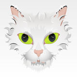 Big green eyes cat face illustration. Vector illustration of a cute cat face with big green eyes and stylized hair. Highly detailed Stock Photos