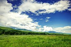 Big green fiels with cloudy sky Royalty Free Stock Photo