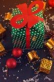 Big green gift box Royalty Free Stock Photography