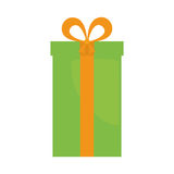 Big green gift box present ribbon. Illustration eps 10 Royalty Free Stock Images