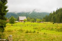 Beautiful nature high in the Karpaty mountains. Old house almost touching clouds stock photo