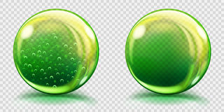 Big green glass spheres with air bubbles and without. Two big green glass spheres with air bubbles and without, and with glares and shadows. Transparency only in stock illustration