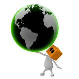 Big green globe in hand Stock Photos
