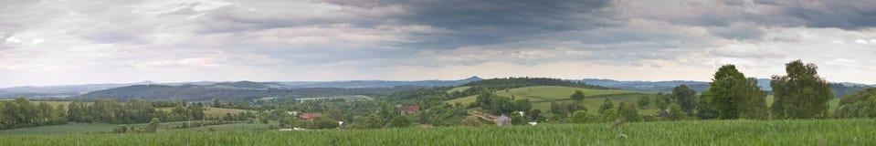 Big green meadow panorama Stock Photo