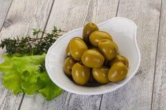 Big green olives stock photos