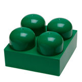 Big green plastic toy block. Isolated on white Royalty Free Stock Images