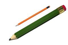 Big green small orange pencils. Stock Photos