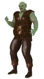 Big green surly ogre. Large green ogre in scaled tunic and leather trousers with surly expression Stock Images