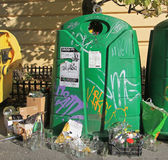 Big green trash container for glass in Brno Stock Image
