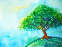 Big green tree color on earth planet watercolor painting blue sky. Light background illustration design hand drawn Vector Illustration