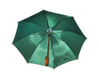 Big green umbrella on white with clipping path. Royalty Free Stock Photos